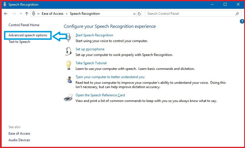 settings in speech recognition